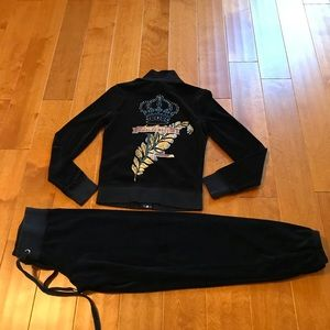 Juicy Couture velour hoodie and jogger pant S